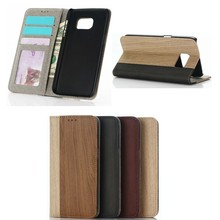 2016 wooden pattern leather case for samsung s7&s7 edge,for galaxy s7 wallet stand cases