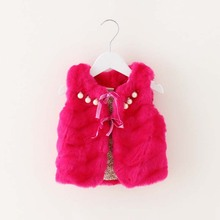 tcz11001 solid color sleeveless baby fur vest for winter