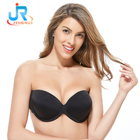 Dongguan Design Ladies Underwear Delicates Brand Bras Customize Strapless Deep Cleavage V Adhesive Silicone Bra