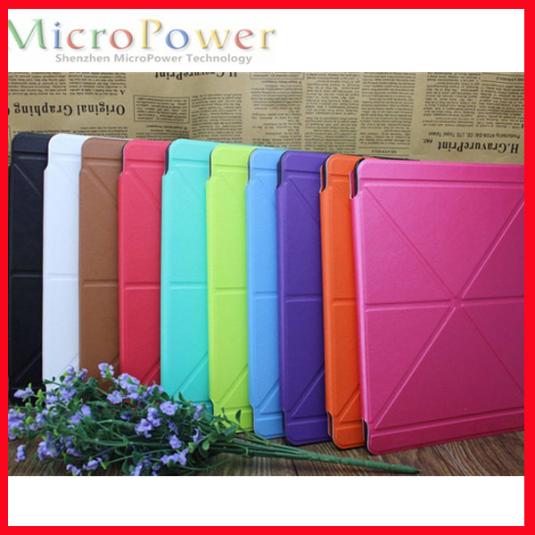 Tablet Custom Folding Transformer Smart Leather PU with PC Back Case For iPad Air