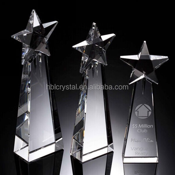 Nice star Goodness crystal award for company celebration,prize