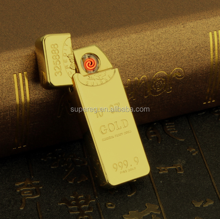 Men's Business Gifts Classic Gold Bars Electric Lighter USB Charging Cigarette Lighter