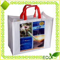 promotional tote beach grocery carry away silk screan printing metallic film gold laminated pp woven shopping bag