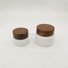 30g white glass jar wooden lid