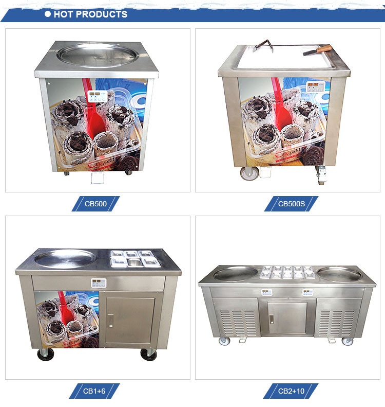 CB900 Thailand Style Roll Fry Ice Cream Machine Double Flat Pan Fry Ice Cream Roll Machine