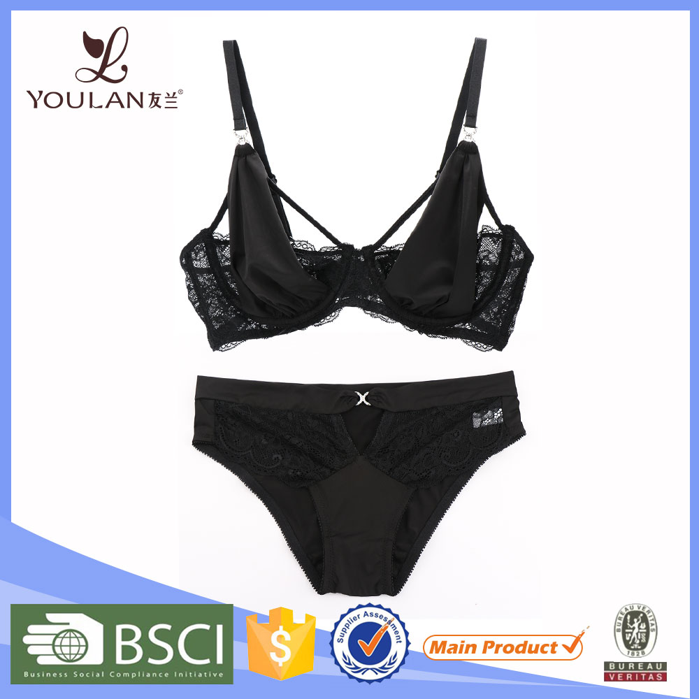 China Factory Top Quality Sexy Lace Black Elegant Brassiere