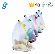 Reusable Mesh Net Bag Shopping Grocery Tote Drawstring Mesh Bag Storage Of Produce Fruit Vegetable Toys Crafts Washable
