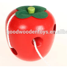 Preschool Biology Learning Educational Fruit Lacing Wooden Toy