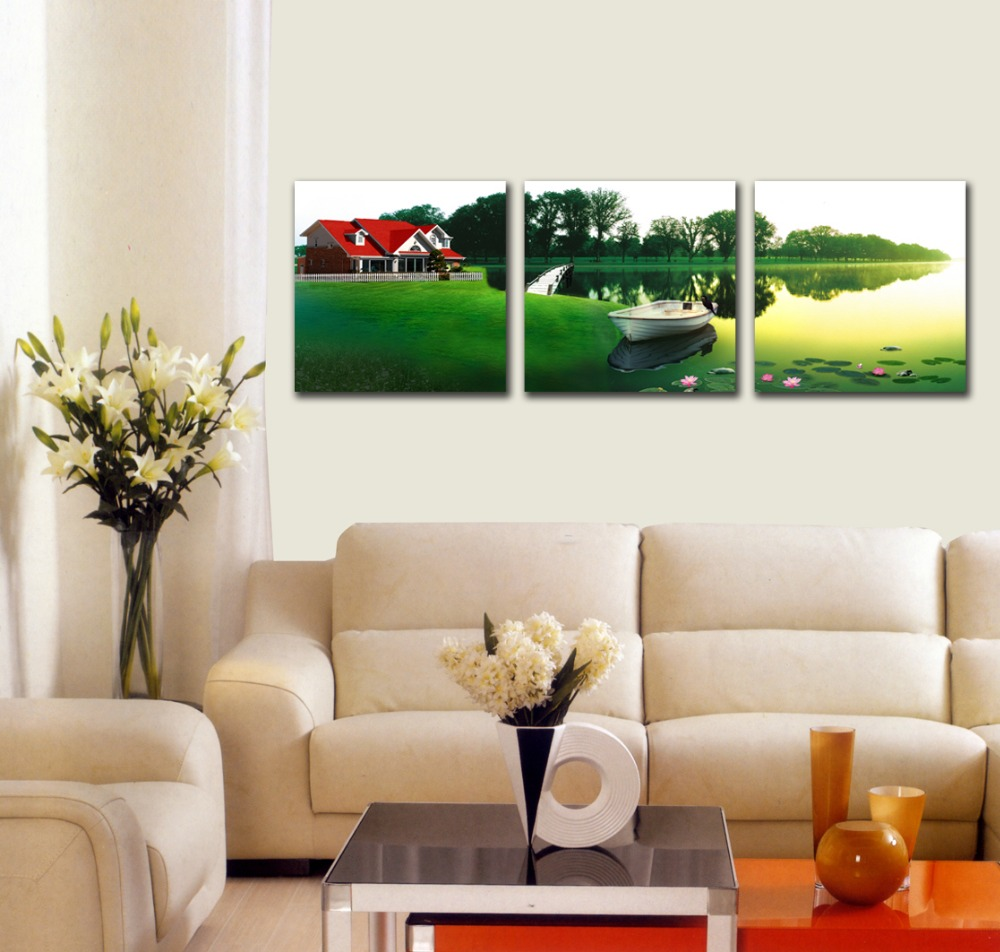 Easy Nature Handmade Red House Village Scenery Painting For Home Decoration