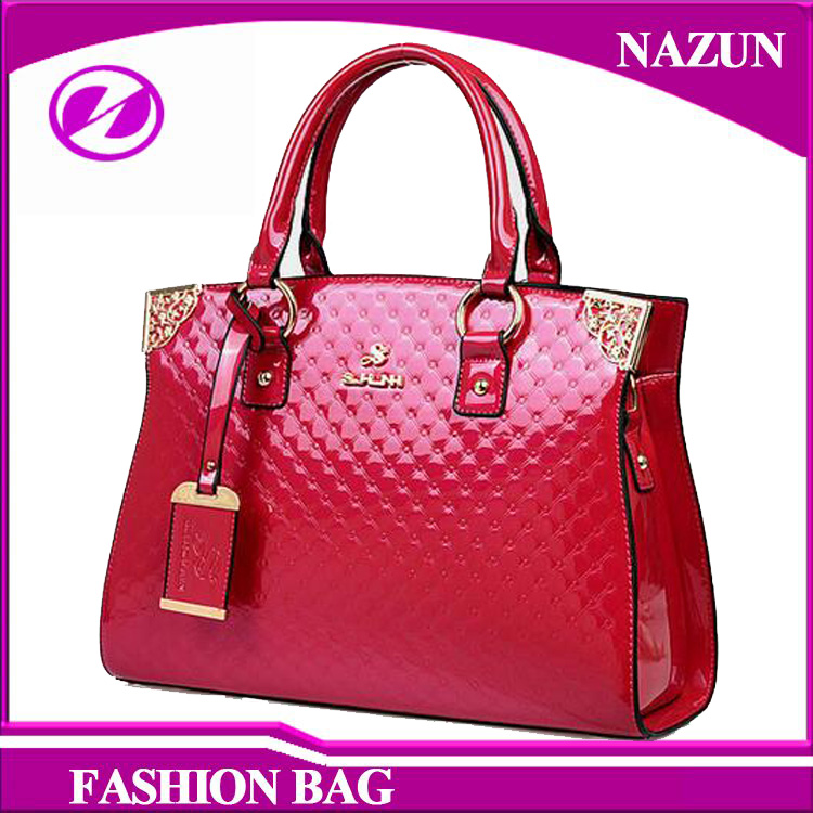 2016 New style European custom-made fashion rose red glossy PU leather pattern designer ladies bags handbag made in China