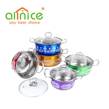 kitchenware 10pcs colorful stainless steel induction cooking pot set