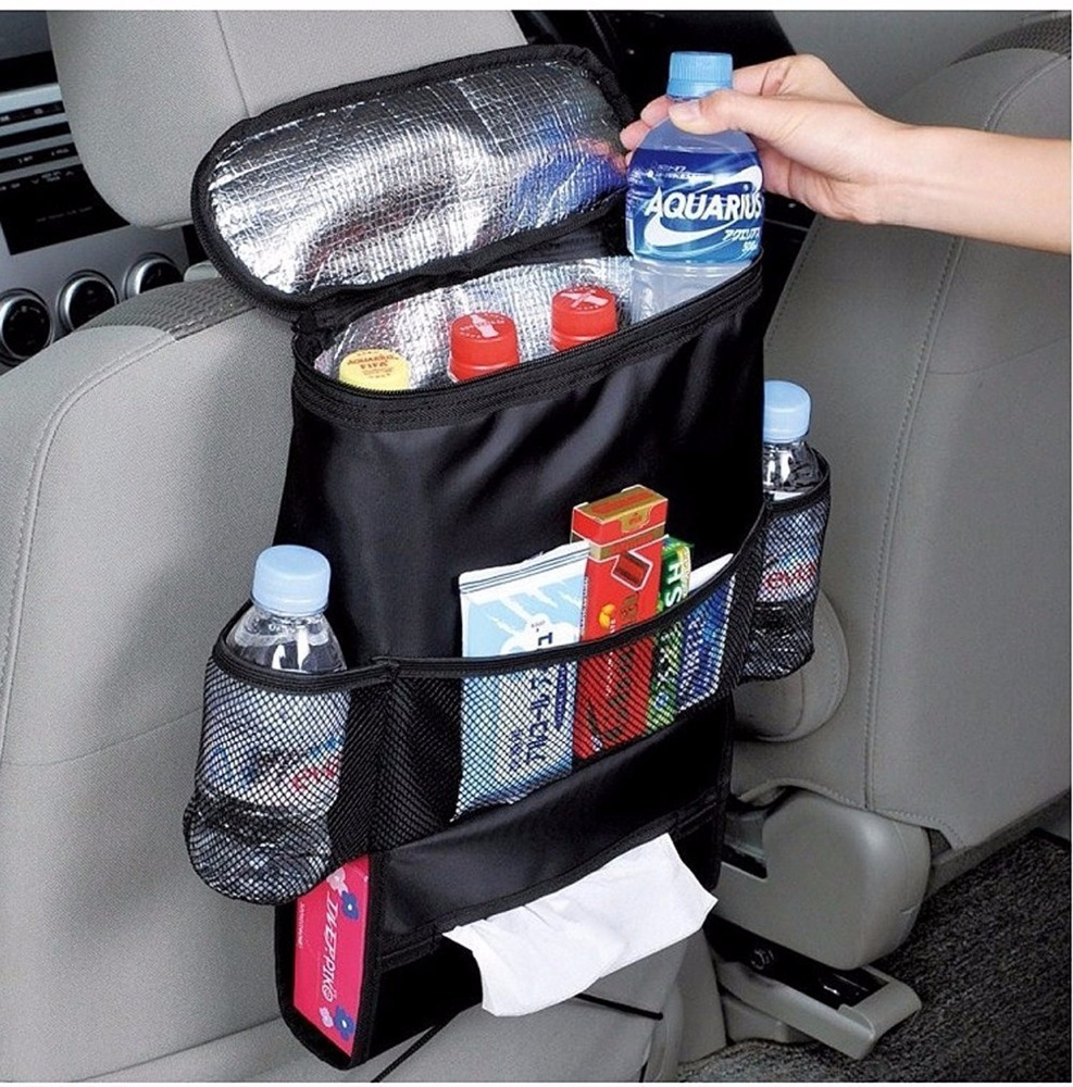 Custom Hanging Car Back Seat Organizer Insulated Trunk Cooler Backseat Car Organizer