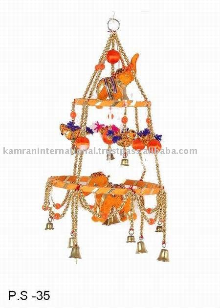 Indian fabric Elephant & Bird bell wall hangings, Hand made Rajasthani bell wall hanging