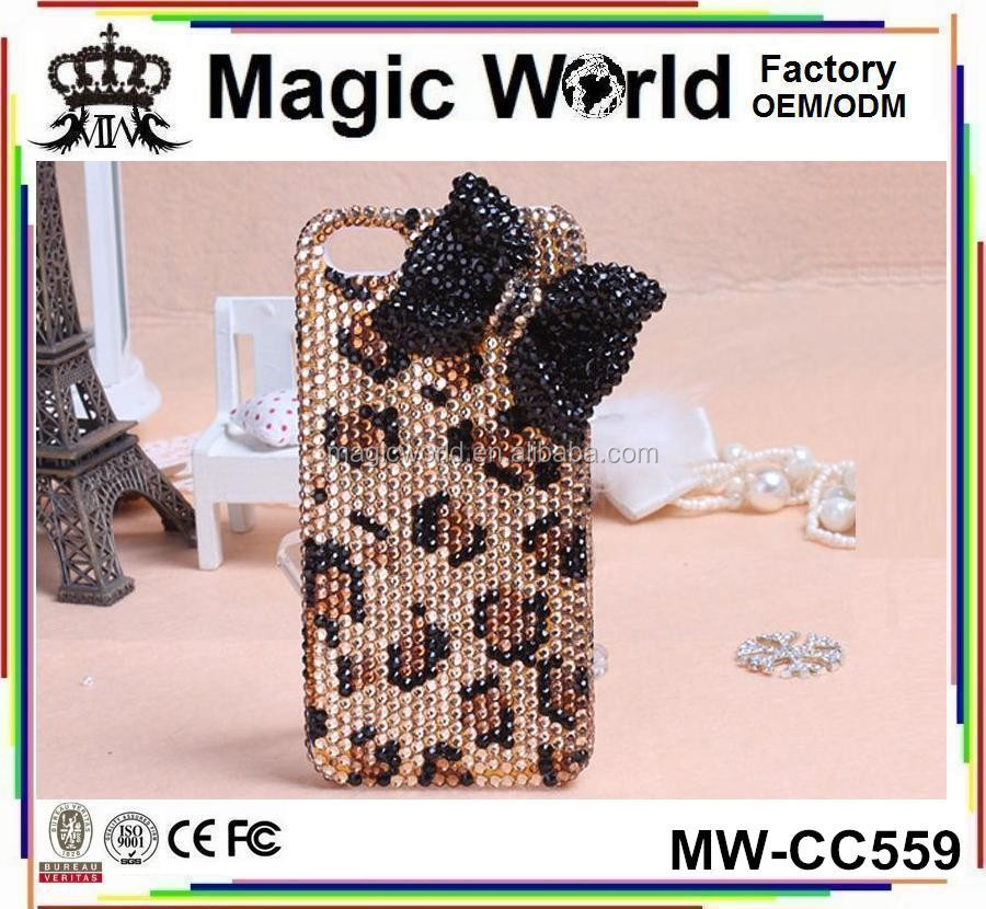 CC559 Not Cheap Leopard Skin Handmade Beaded Cell Phone Cases