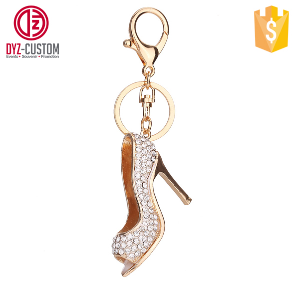 Rhinestone high heel shoe shaped keychain High-heel shoe key ring