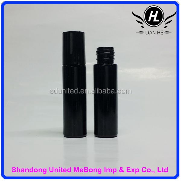 Hot sale fashion 10ml dark violet glass roller bottle with black cap