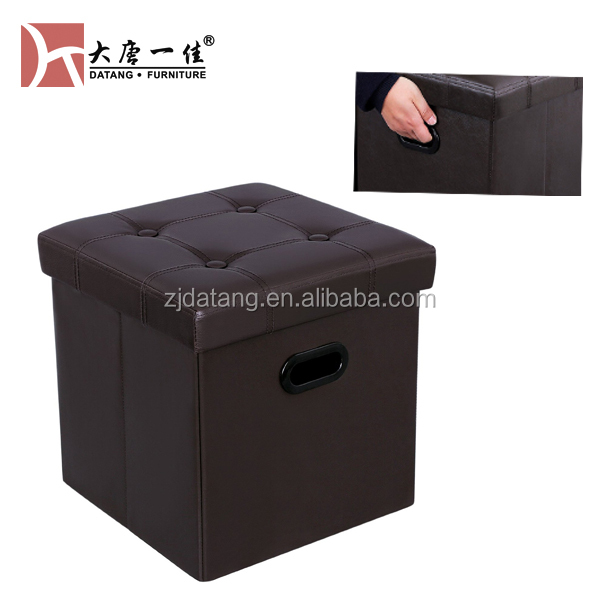 folding leather Storage Ottoman with handle