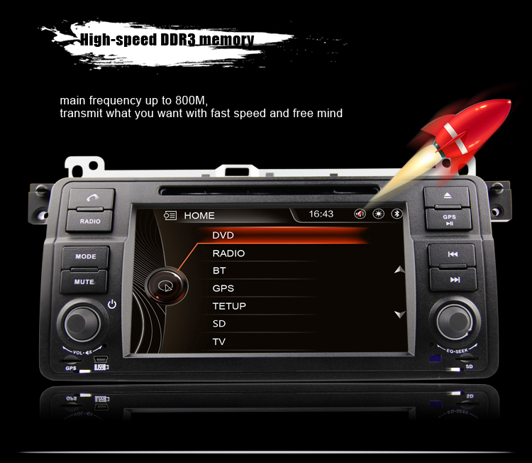 "OEM/ODM 7"" digital touch screen special car radio for BMW 3 series E46 DJ7062 with original UI"