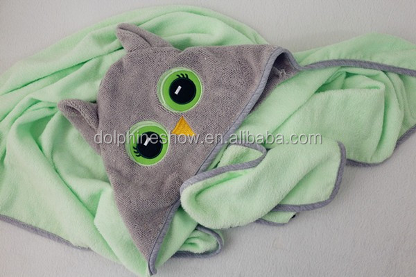 Fashion cute owl design baby bath towel set custom animal cotton terry baby towel with hood