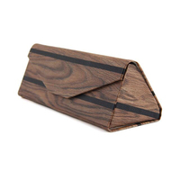 FP-C5 Foldable Leather Triangular Fashion Bamboo Glasses Sunglasses Case