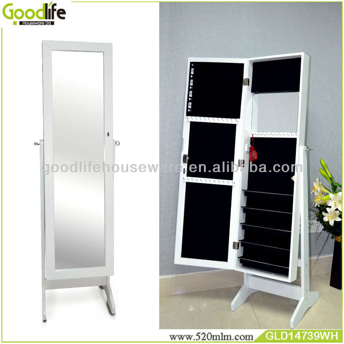 Guangdong factory furniture wholesale bedroom wall hanging jewelry armoire with mirror in white