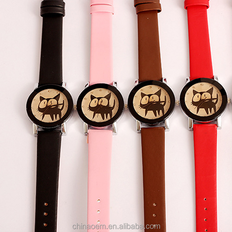 Hot Sale Cat Watches Women Fashion Lady Dress Watch Vintage PU Leather Strap Cat Face Watches