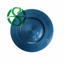Wedding decorative swirl glass underplates for table decorating Navy Blue Color for Wedding Events and Party Decoration