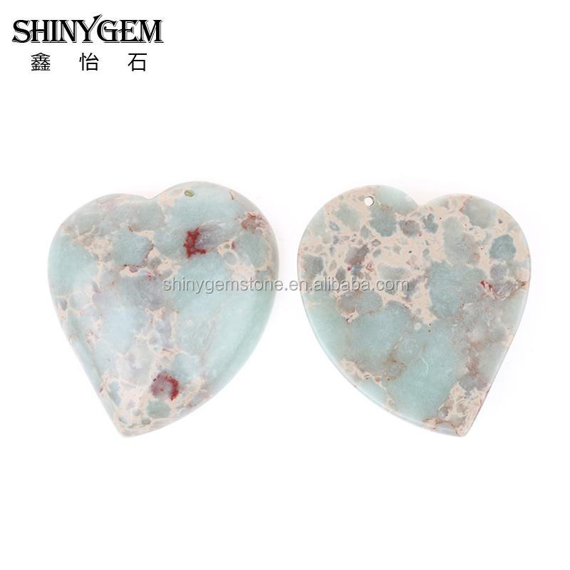 Trendy Heart Shape Stone Pendant Snakeskin Color Sea Sediment Jasper Beads Necklace Charm