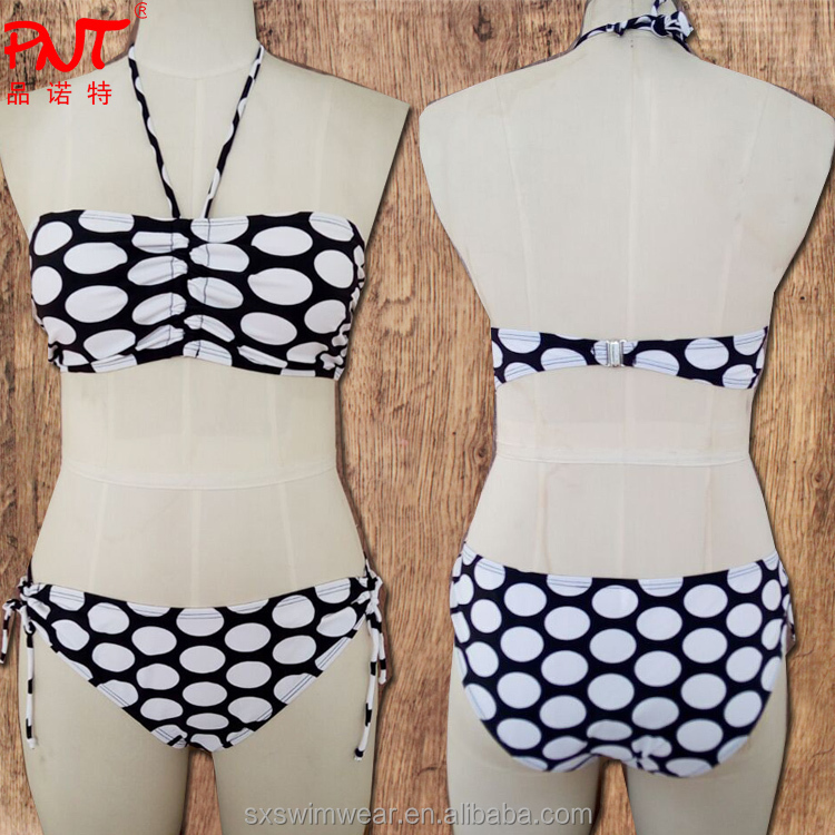 Hot <strong>Sexy</strong>! Fashion Vintage Swimwear & Swimsuits beach resort neck hung big bead wave point bikini black and white