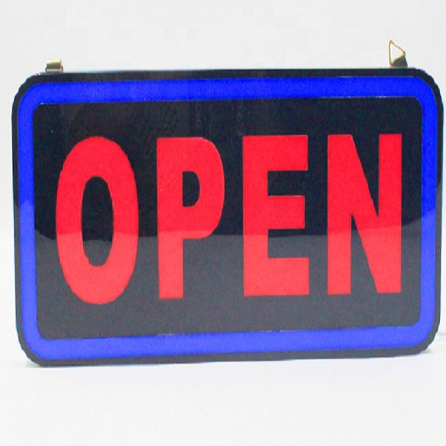 Customized battery powered black acrylic LED open <strong>sign</strong> for shop decoration