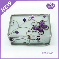 HX-7248 Wholesale Active Metal Golden Purple Butterfly Jewelry Box