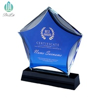 2019 NEW Design custom Shining Blue Black Star K9 crystal glass Medals trophy and award with Event Gifts from Yiwu Jinghua