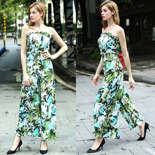OEM 2016 summer european fashion ruffled tunic flexible waist belt floral print tee dress ladies female women jumpsuit