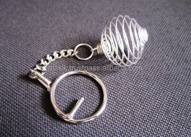 Key ring with cage : Wholesale gemstone key chains