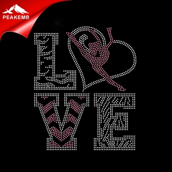 Love Gymnastics hotfix rhinestone iron on transfer designs for clothing