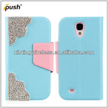 High Quality Diamond Pattern With Wallet Card Holder Back Cover Flip PU Leather Case For Samsung S4