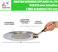 Manufacturer stainless steel splatter screen with a foldable handle