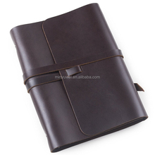 Refillable Leather Journal with Strap 6 Ring Binder A5 Blank Craft Paper