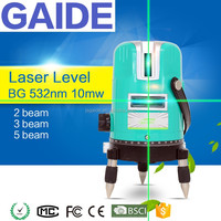 BG 532nm 10mw green beam multi cross line laser level rotary