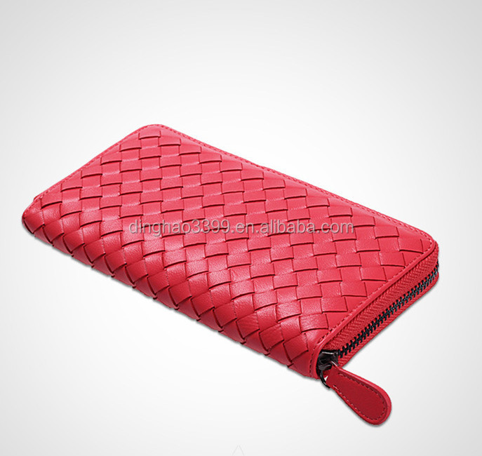 Wholesale Sheepskin leather Woven pattern Lady Clutch/Purse For Women leather wallets