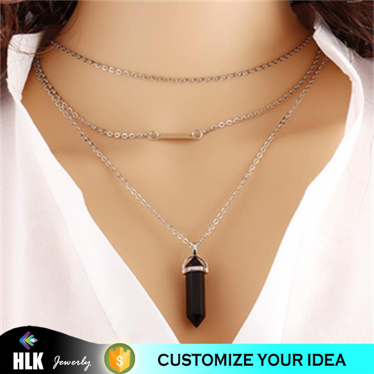 xp jewelry anime necklace multilayer natural stone pendant clavicle chain