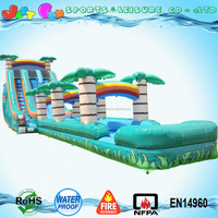 Tropical double lane inflatable water slide with slip n slide