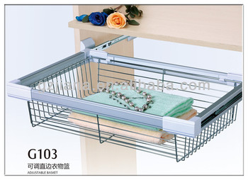 China Cabinet Basket Storage Sliding Wire Basket for Wardrobe