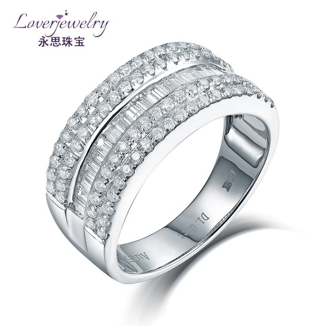 Available Custom 4.81 Grams Solid 18K White Gold 1.021ct Natural Diamonds Jewelry Ring Making Supplies