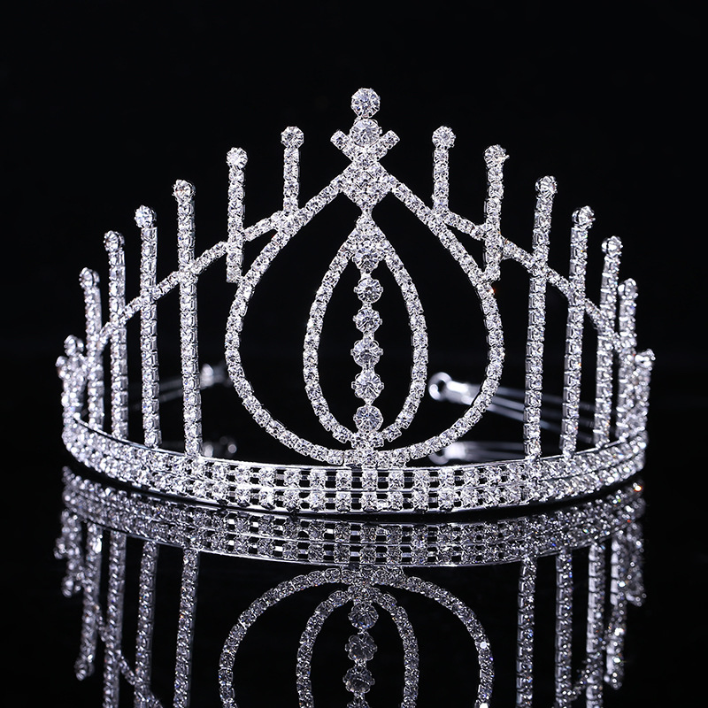 2016 europe style round size adjustable tiara heart shape bridal <strong>crown</strong>