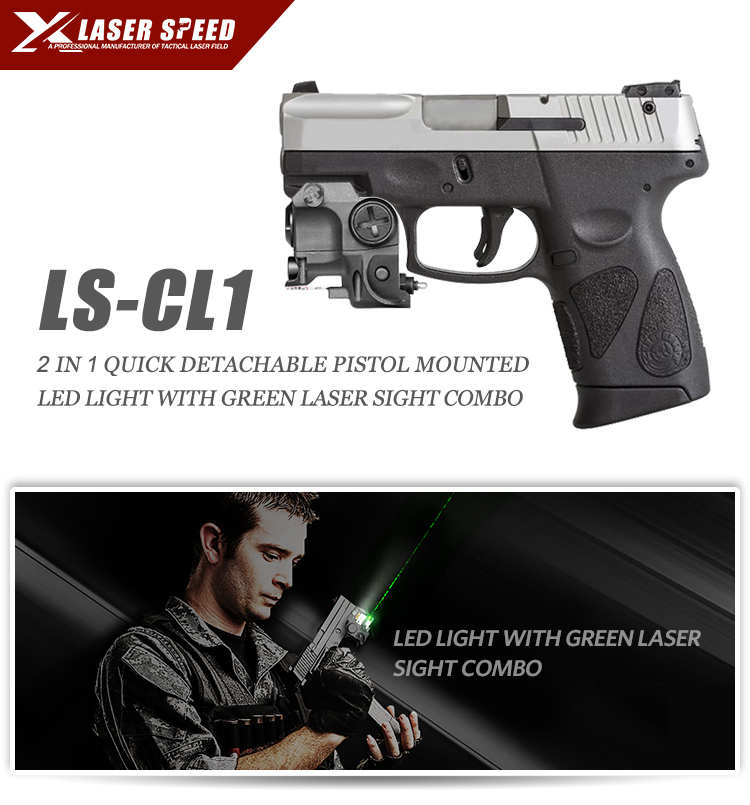 Subcompact pistol rail mounted LED gun light and pistol invisible green laser sight combo