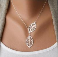 Short Gold Silver Carved Double Leaf Link Chain Collar Necklace For Women