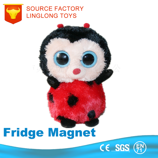Small Plush Toy Big Eyes Owl Down Fancy Toy Plush Fridge Magnet Animal Toys