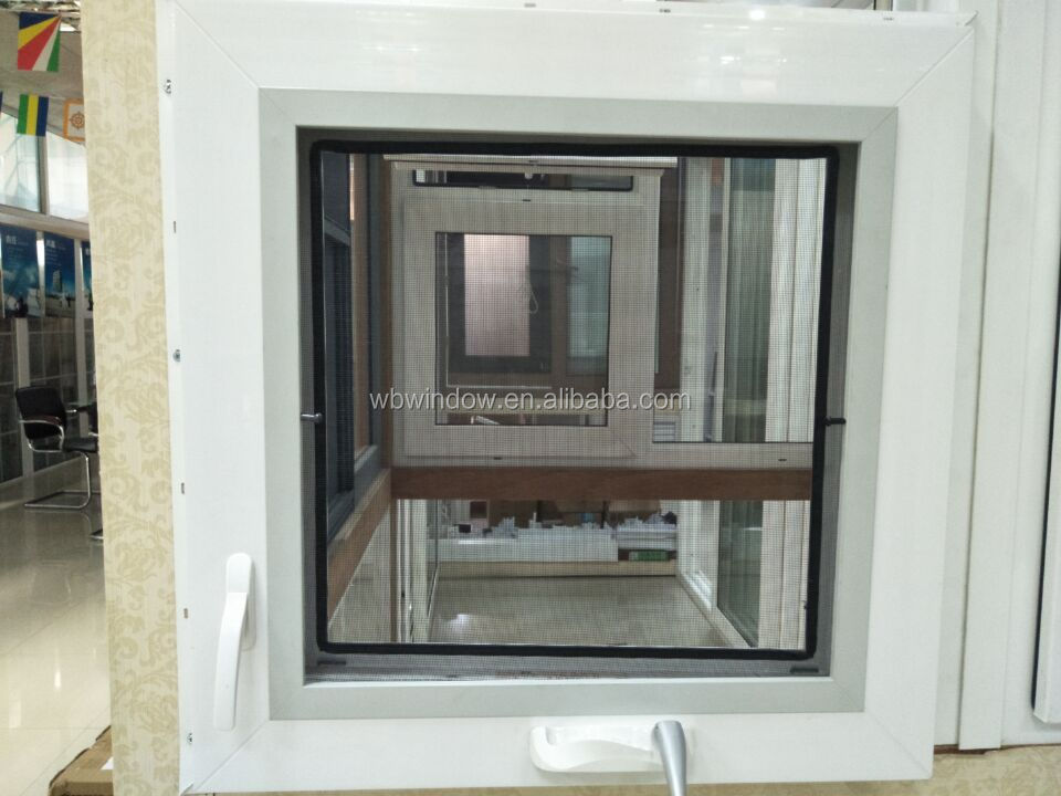 Crank open window,pvc profile material windows with fix mosquito net