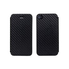 Black Cellphone Carbon Fiber Leather Case for iPhone 4 4s